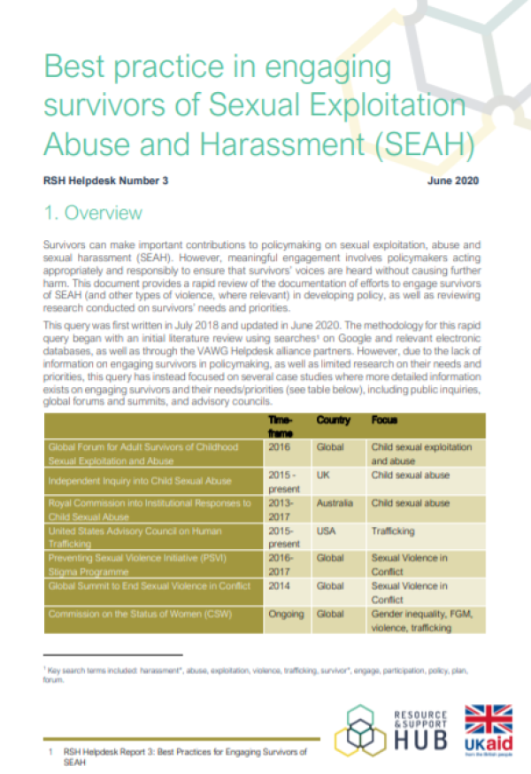 front cover of Best practice in engaging survivors of Sexual Exploitation Abuse and Harassment